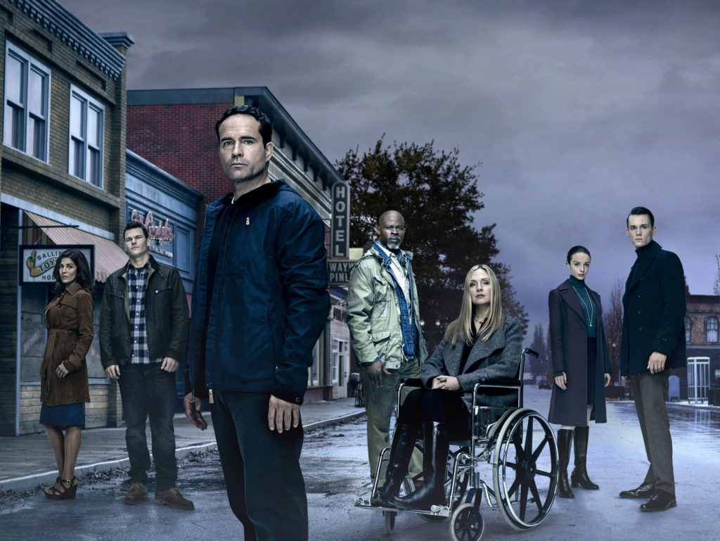 WAYWARD PINES: L-R: Nimrat Kaur, Josh Helman, Jason Patrick, Djimon Hounsou, Hope Davis, Kacey Rohl and Tom Stevens. Season two of WAYWARD PINES premieres Wednesday, May 25 (9:00-10:00 PM ET/PT) on FOX. ©2016 Fox Broadcasting Co. Cr: Patrick Hoelck/FOX